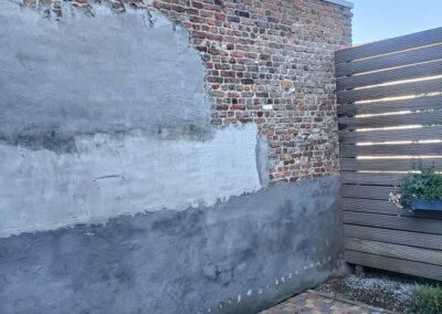 Cementeren blote steenmuur